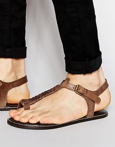 82a5ecc26cab Image 1 of ASOS Thong Sandals in Woven Brown Leather Low Heel Sandals