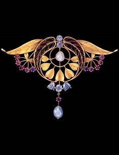 Art Nouveau Brooch, by HENRI DUBRET gold, plique-à-jour enamel, almandine garnets, diamonds and pearls. Signed, numbered