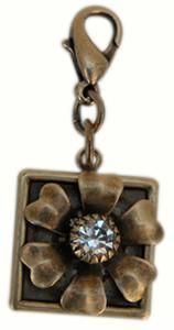 Oxidized Brass Flower with Crystal center.  Jewelry charms by @classiclegacy