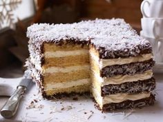 The classic Australian lamington gets a mega-sized makeover for this delicious giant layer cake. Square Cake Pans, Square Cakes, Baking Recipes, Cake Recipes, Dessert Recipes, Coconut Recipes, Australian Desserts, Australian Food, Yummy Treats