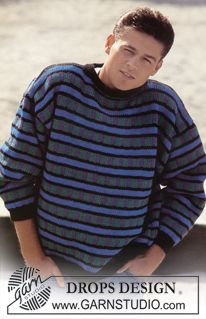"""DROPS 8-17 - DROPS jumper with pattern borders in """"Alaska"""". Ladies and Men's size S – L. - Free pattern by DROPS Design"""