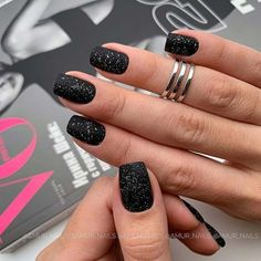 Nails black 43 Pretty Nail Art Designs for Short Acrylic Nails Glittery, Matte Black Acrylic Nails Square Nail Designs, Black Nail Designs, Short Nail Designs, Acrylic Nail Designs, Acrylic Art, Latest Nail Designs, Fall Nail Art Designs, Acrylic Nails Coffin Matte, Matte Black Nails