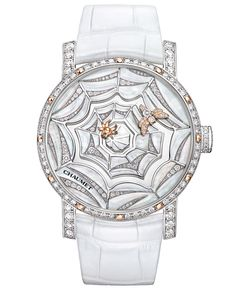 Star of the collection is the @Chaumet Montre Precieuse Attrape-moi... si tu maimes rhodium-plated watch in white gold, set with 64 brilliant-cut diamonds (1.64ct) and 12 polished pink gold indexes. The bee indicates the minutes and the spider the hours.