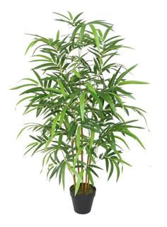 Faux bamboo plant. Bright two tone green bamboo leaves make this decorative plant a must for your zen space! Very realistic stems ending in a black planter pot. We recommend this to be used indoors, h