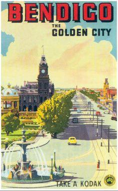 Bendigo, Australia Vintage Travel Poster Canvas Print by vintagevault Posters Australia, Australian Vintage, Tourism Poster, Railway Posters, Advertising Poster, Vintage Travel Posters, Vintage Advertisements, Canvas Prints, History