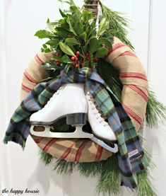 The Happy Housie- Burlap, Boughs and Blades Winter Wreath - with pine and holly, vintage ice skates and thrifted plaid scarf #Christmas Wreath #Christmas door decor