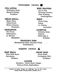 A list of Ukrainian hostels in Britain in 1947