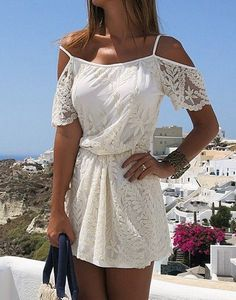 Stylish Spaghetti Strap Short Sleeve Solid Color Lace Women's Dress
