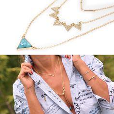 Collar superpuesto, turquesa y dorado triángulos. www.mimett.com