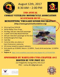 Owings Mills, MD - Aug. All proceeds will benefit The Gary Sinise Foundation. Gary Sinise Foundation, Owings Mills, Soldier Love, Disabled Veterans, Motorcycle Events, Maryland, Charity, Benefit, Biker