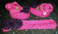 Crochet baby girl ballerina slippers with headband Made by Me
