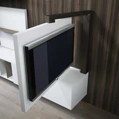 Result image for mobile porta tv orientabile Tv Wall Design, House Design, Tv Unit Design, Swivel Tv Stand, Hidden Tv, Tv Furniture, Wall Mounted Tv, Swivel Tv Wall Mount, New Homes