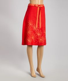 Look what I found on #zulily! Red Floral A-Line Skirt - Women by Joy Mark #zulilyfinds