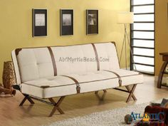 Off White Sofa Bed With Faux Leather Strap And Buckles Accents White Sofa Bed Sofa Bed White Sofas
