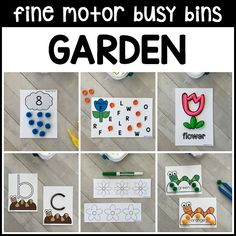 12 super fun & motivating GARDEN Fine Motor Busy Bins for your spring theme to use in preschool, pre-k, kindergarten as morning welcome work tubs. Work on numbers, alphabet, counting, pre-writing, sorting, visual discrimination skills with these reusable activities! Great for small group activities with the 3's.