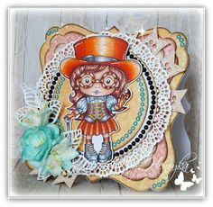 From our Design Team! Card by Henryka Kowacz featuring Top Hat Steampunk Marci and these Dies - Flower banner, Small lacy border, Stitched nested circles, Open leaf flourish :-) Shop for our product here - shop.lalalandcrafts.com  Coloring details and more Design Team inspiration here - http://lalalandcrafts.blogspot.ie/2015/09/inspirational-monday.html