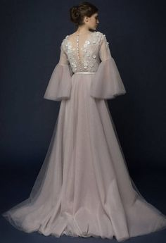 LILLA/ lavender tulle wedding dress with french lace top /