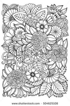 Similar Images, Stock Photos & Vectors of Black and white flower pattern for coloring. Art therapy coloring page. Relaxing for all ages. For adults and kids - 504625108 Pattern Coloring Pages, Adult Coloring Book Pages, Printable Adult Coloring Pages, Flower Coloring Pages, Mandala Coloring Pages, Coloring Books, Colouring, Flower Pattern Drawing, Floral Drawing