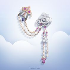 New Van Cleef & Arpels Cerfs-Volants™ collection Cerfs-Volants™clip - pink gold, pink and mauve sapphires, white gold, white and grey mother-of-pearl and diamonds - #VCACerfsVolants