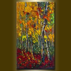 Original Birch Tree Forest Textured Palette Knife Landscape Painting Oil on Canvas Contemporary Modern Art Seasons 16X27 by Willson Lau. $195.00, via Etsy.