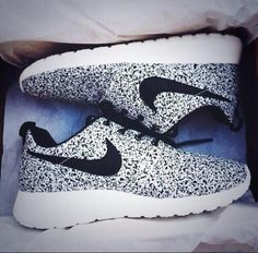 White an black Nike shoes