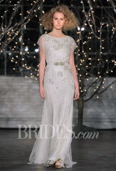 "Brides: Jenny Packham - Fall 2014. ""Rose"" beaded organza A-line wedding dress with a high scoop neckline and flutter short sleeves, Jenny Packham"