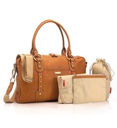 Storksak Elizabeth Leather Bag In Tan Baby Shower Station Designer Diaper Bags