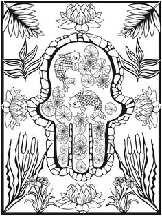 Hamsa Design Coloring Pages Dover Publications