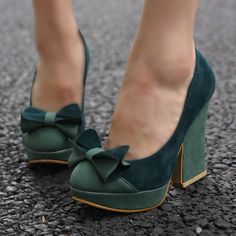 Womens Two Tone Bowknot Platform Chunky Heels Elegant Vintage Faux Suede Shoes