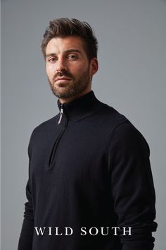 Crafted in a natural blend of cotton with the added luxury of cashmere, creates this beautifully soft and easy care knit. Cut in a regular fit with sturdy ribbed hem and cuffs and a quarter zip design feature. This garment is finished with a high quality metal zipper, branded leather puller and our signature Wild South metal tag at the hem. Wear yours layered over a tee and team with a pair of our classic chino pants for an effortlessly stylish look. Available in navy, blue marle and green.