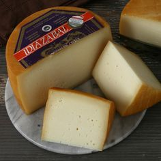 This handmade, unpasteurized sheep's milk cheese comes from the Spanish Pyrenees. Idiazabal is naturally smoked with a hard but edible orange-brown rind. Queso Manchego, Smoked Cheese, Spanish Cheese, Spanish Food, Swedish Recipes, Portuguese Recipes, Gourmet Gifts, Gourmet Recipes, Gastronomia