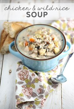 This creamy, comforting, hearty Chicken & Wild Rice is perfect for chilly fall and winter nights! via @ourbestbites #soup #fallrecipes #dinner