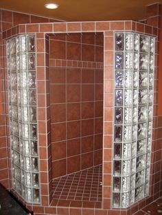 glass block walls in bathrooms | ... Shower and Tile Floor with Glass Block and Traditional Mexican Tile