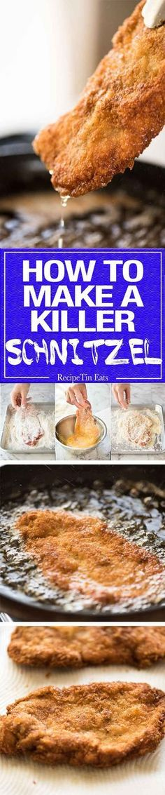 There is nothing quite like a freshly made schnitzel. Extra crunchy and golden, make this with pork, chicken, veal or turkey! Plus a mushroom gravy recipe! Pork Recipes, Chicken Recipes, Cooking Recipes, Recipe Tin, Good Food, Yummy Food, Pork Dishes, Food Styling, Okra
