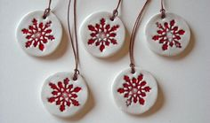 Ceramic christmas ornament red and white, set of five , home decor, gift tags Christmas Clay, Christmas Ornaments To Make, Handmade Christmas, Christmas Crafts, Clay Ornaments, Handmade Ornaments, Ceramic Jewelry, Clay Jewelry, Ceramic Christmas Decorations