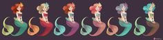 Ailyn's mermaid school, she's the one with coral hair three from the right four from the left