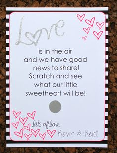 Valentines Gender Reveal Scratch Off Cards by LivLoveCruz on Etsy