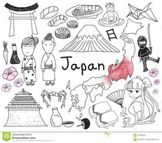 travel-to-japan-doodle-drawing-icon-culture-costume-landmark-cuisine-tourism-concept-isolated-background-create-70900643.jpg (1300×1150)