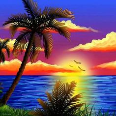 full Diamond Embroidery DIY Cross Stitch Sunrise beach coconut Diamond Painting rhinestones of picture by numbers mosaic kits Acrylic Painting Canvas, Canvas Art, Waterfall Scenery, Hd Nature Wallpapers, Tropical Art, Tropical Paradise, Painting Wallpaper, Nature Paintings, Oeuvre D'art