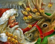 Santa With His Reindeer and the Christmas Bells. Cowboy Christmas, Father Christmas, Christmas Paper, Christmas Bells, Christmas Pictures, Vintage Christmas, Christmas Time, Merry Christmas, Xmas