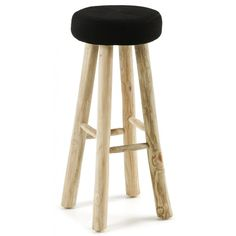 BBoc Stool Black (665 PLN) ❤ liked on Polyvore featuring home, furniture, stools, barstools, bar stools, teak wood furniture, black bar stools, black furniture, teak stool and black counter stools
