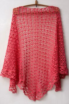 Crochet cotton coral shawl, crochet cotton lace wrap, crochet cotton shawl, boho lace shawl by SanniKnitting on Etsy