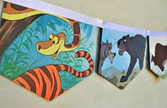 The Jungle Book: Vintage Little Golden Book storybook  Bunting Banner Paper Children story book Decoration Eco Friendly repurposed