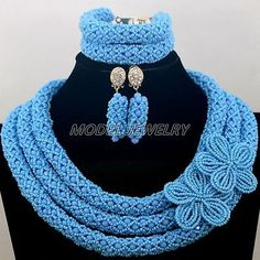 Turquoise African Beads Jewelry Set Nigerian Wedding Crystal Fashion Women Gift