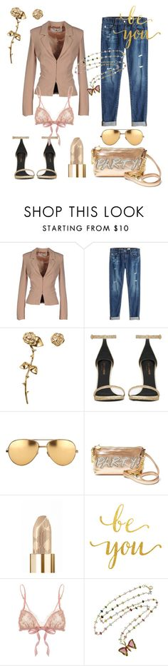 """""""Girls night out"""" by juliet-elizabeth-george on Polyvore featuring Elisabetta Franchi, AG Adriano Goldschmied, Smith/Grey, Yves Saint Laurent, Linda Farrow, Betsey Johnson, Burberry, Hanky Panky, gold and Girls"""