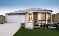 Stylish elevation with tiled feature pier, rendered facade and Colorbond roof.