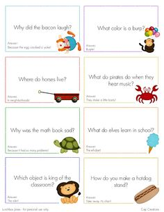 Printable Lunch Box Joke Cards - I know a little boy who would love getting these in his lunch!