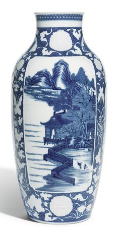 A SOFT-PASTE BLUE AND WHITE VASE, QING DYNASTY, QIANLONG PERIOD