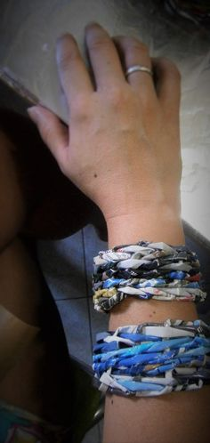 Handmade bracelets from recycled magazine pages