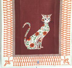 Vintage Tea Towel Virginia Zito Pretty Kitty Cat by NeatoKeen